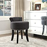 Inspired Home Taylor Grey Linen Vanity Stool - Nailhead Trim | Roll Back |Button Tufted | Bedroom