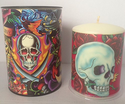 Ed Hardy Candle Unscented 3 by 4 Pillar, Skull And Roses