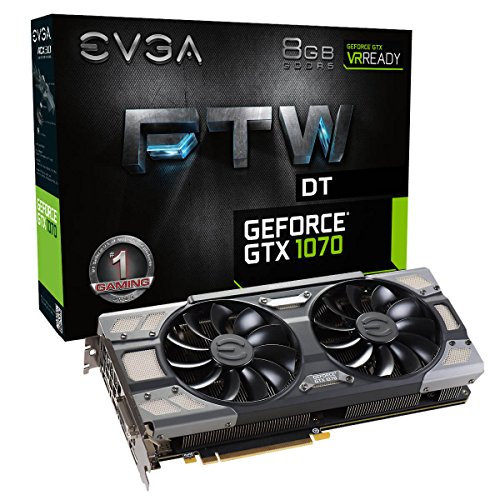 EVGA GeForce GTX 1070 FTW DT GAMING ACX 3.0, 8GB GDDR5, RGB LED, 10CM FAN, 10 Power Phases, Double BIOS, DX12 OSD Support (PXOC) Graphics Card 08G-P4-6274-KR