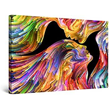 Startonight Canvas Wall Art Abstract - Kissing in Eternity, Multicolored Painting - Artwork Print for Bedroom 24
