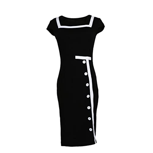 JNTworld Women Ladies Button Formal Bussiness Bodycon Pencil Black Cocktail Evening Party Dress
