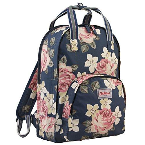 Cath Kidston Matt Oilcloth Multi Pocket Backpack Rucksack Richmond Rose Dark Navy 16SS
