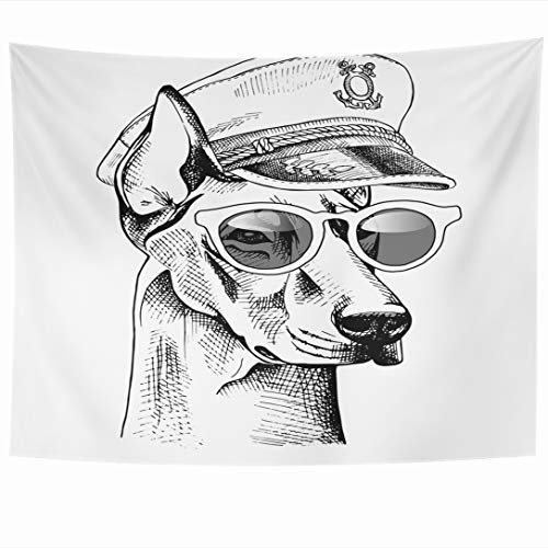 Doberman Pinscher Tapestry - Ahawoso Tapestry 60x50 Inch Graphic Navy Pinscher Doberman Captain Cap Sunglasses Anchor Black Breed Canine Design Cool Tapestries Wall Hanging Home Decor for Living Room Bedroom Dorm