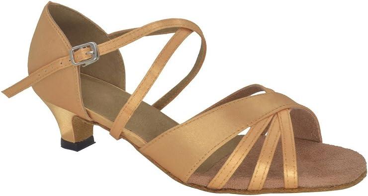 Misu Womens Peep Toe Sandals Latin Salsa Tango Practice Ballroom Dance Shoes with 3.1 Heel