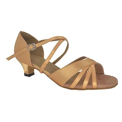 fc098872e29 Misu Women s Peep Toe Sandals Latin Salsa Tango Practice Ballroom Dance  Shoes with 1.5 quot  Heel