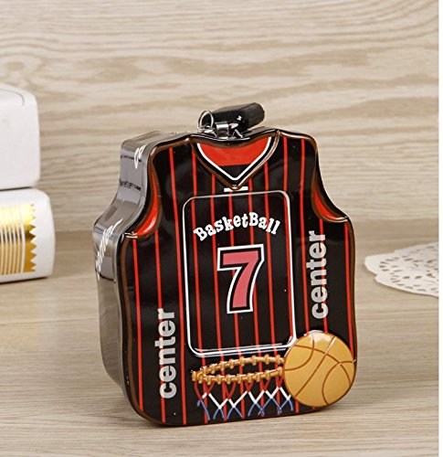 Polymer Mini Save Money Bank Basketball Shirt Piggy Bank Tin Storage Box With Lock (Black) (Bank Mini Basketball)