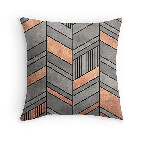Abstract Chevron Pattern – Concrete and Copper for Sofa Couch Living Room Bed Decorative