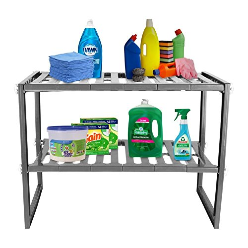 Mr Kitchen Rack   White 2-Tier Space Saving Expendable Under Sink Shelf Adjustable Cabinet Storage 12x20-28x15 Inches Size   Sturdy Stainless Steel & PP Materials Kitchen Bathroom Organizer - Double Hand Towel Swiveling Bar
