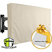 Sport Finer Outdoor TV Cover, Beige, Weatherproof - Protects 40 – 42 Wall and Standard Mount LCD, LCD, Plasma, Flat Screen – Bonus Microfiber Cloth