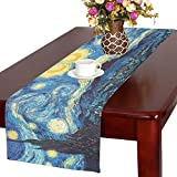 Starry Night By Vincent Van Gogh Cotton Linen Placemat Table Runner 16'' x 72''