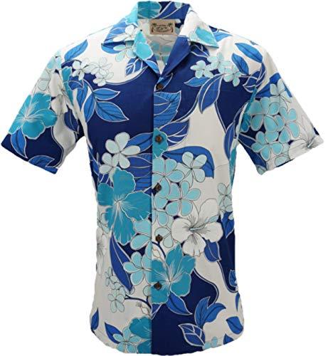 - E&K Fashion Tropical Luau Beach Cotton Print Men's Hawaiian Aloha Shirt (Medium, Floral Tropical Blue)