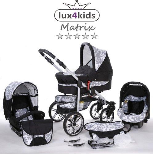 Chilly Kids Matrix II Kinderwagen Komplettset (Autositz & Adapter, Regenschutz, Moskitonetz, Schwenkräder) 63 Schwarz & Graphit Blumen