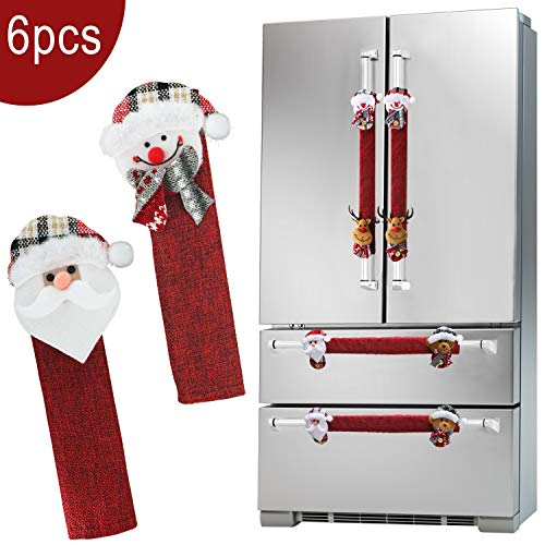 Christmas Refrigerator Door Handle Covers Set of 6, Santa Snowman Kitchen Appliance Handle Covers Fridge Microwave Oven Dishwasher Door Handle Protector Holiday Decorations