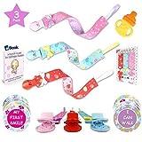 Premium Pacifier Clip Girl 3Pk Bundle - Bonus 12 Milestone Stickers, Silicone Soothie Teether & Teething eBook - 2 Sided Binky Holder - Fits Mam, Nuk, Tommee Tippee, Bibs & Toys-Best Baby Shower Gift