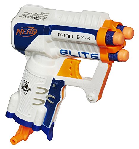 Bundle: Nerf N-strike Elite Triad Ex-3 Blaster Orange/Blue(1) Pack of N-strike Elite Suction Darts(30 Darts) (Blaster Ex3)