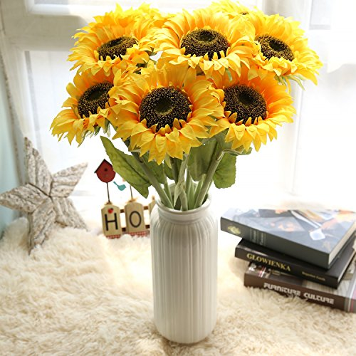 Bouquets Bridal Sunflower (Mokylor Artificial Silk Sunflower, 7-stems Artificial Sunflower Bridal Wedding Bouquet Latex Bouquets For Home Decoration Wedding Decor Real Touch Silk Flowers Bride Holding Flowers Floral Decors)