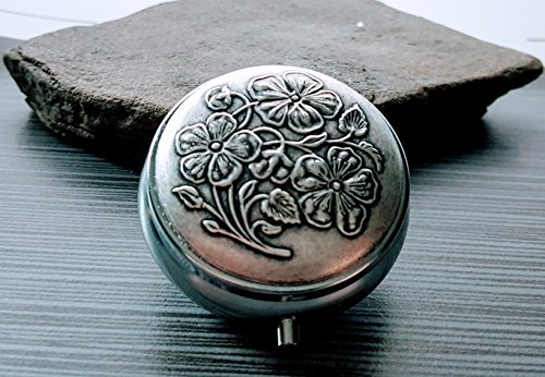Handmade Oxidized Silver Dogwood Pill Box by Urban Metal Designs