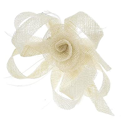 bcd5984773c34 Large Beige Cream Mesh Net Mesh Rose Flower Loop Feather Fascinator Corsage  Bridal Wedding Bridesmaid Races Hair Clip Brooch Piece Accessory