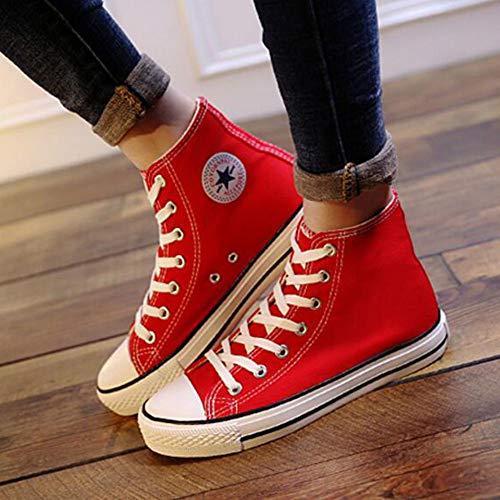 de Lona CN39 Red Color Size EU39 Zapatos de Alta FH Coreana versión Primavera UK6 Zapatos Estudiante los Piso Femenina Salvaje de Inferior gwcnXqOwC