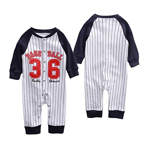 Baseball Player Halloween Outfit (GORBAST Baby Boy Baseball Organic Romper Little Kids Jumpsuit Outfit Long Sleeve Toddler Clothes Suit for Spring Summer Fall Winter (9-12 Months,)