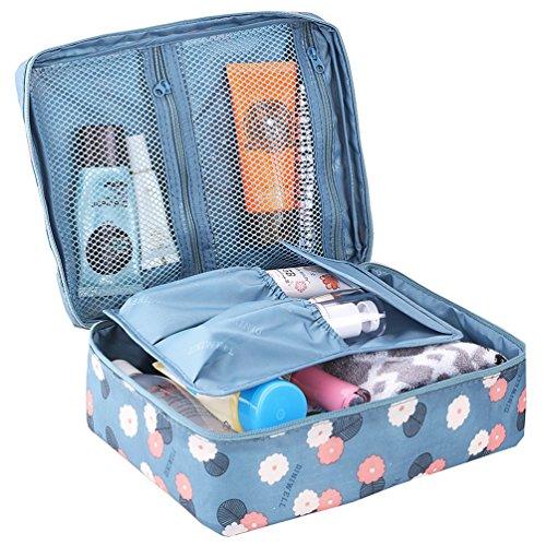 HiDay Blumendruck Kosmetik Make Up Tasche Reise Toilettenartikel Veranstalter - 5 Fächer