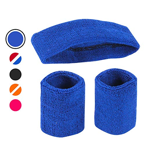 AFLGO Sweatband Set for Sports, Workout, Training & Exercise | 1 Headband & 2 Wristbands Cotton to Pair with Your Athletic Costume Apparel | Comfy & Durable Sport Accessories for Men & Women (Blue) -