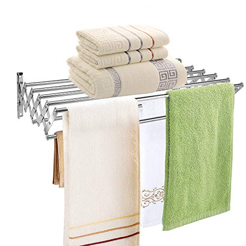 (Mai Hongda Accordion Wall Mounted Drying Rack Stainless Steel Clothes Retractable Folding Accordian Wall Hanger Hanging Towel Holder 60lb Capacity for Laundry Bathroom No Drilling (24'' Standard))