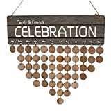 B Blesiya Family Birthday Board Wooden Plaque Faith Friends Calendar Board Friend Birthday Reminder with 50pcs Tags for Home Decoration
