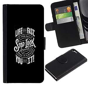 All Phone Most Case / Oferta Especial Cáscara Funda de cuero Monedero Cubierta de proteccion Caso / Wallet Case for Apple Iphone 5 / 5S // LIVE FAST