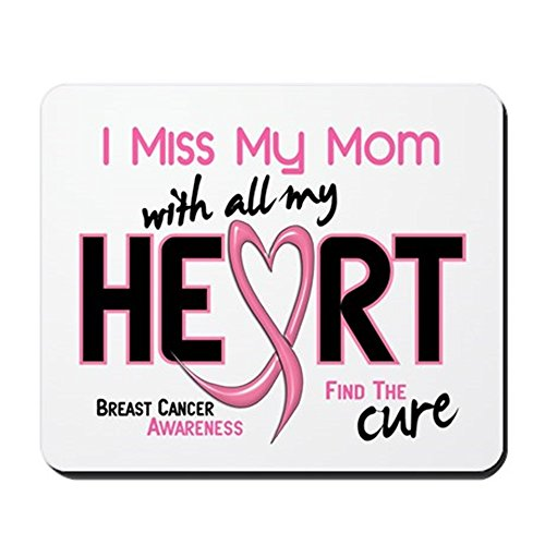 CafePress Miss My Mom with All My Heart Breast Cancer Mousep Non-Slip Rubber Mousepad, Gaming Mouse Pad