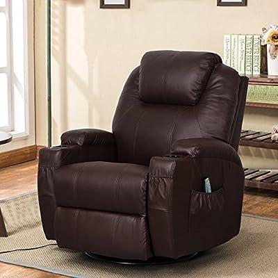 Esright Massage Recliner Chair Heated PU Leather Ergonomic Lounge 360 Degree Swivel