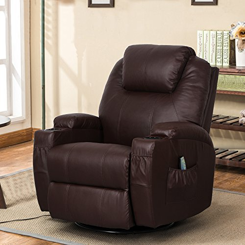Leather Ergonomic Recliner - Esright Massage Recliner Chair Heated PU Leather Ergonomic Lounge 360 Degree Swivel (Espresso)