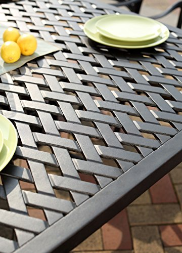 """Darlee 201630-7PC-30RE Cast Aluminum 7 Piece Rectangle Dining Set & Seat Cushions, 42"""" by 72"""", Antique Bronze - Weather-resilient hand made durable cast aluminum construction Powder-coated with elegant multi-step hand finish Sesame-colored seat cushion made of 100% polyester Chairs solid cast aluminum basket weave design seat, table includes removable umbrella hole cover, assembly required - patio-furniture, dining-sets-patio-funiture, patio - 51m9hDczhiL -"""
