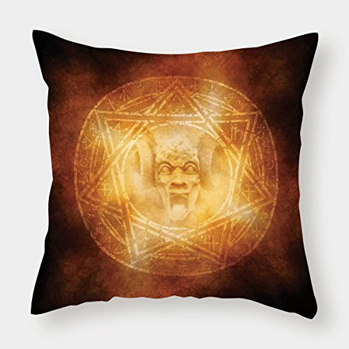 iPrint Microfiber Throw Pillow Cushion Cover,Horror House Decor,Demon Trap Symbol Logo Ceremony Creepy Ritual Fantasy Paranormal Design,Orange,Decorative Square Accent Pillow Case by iPrint