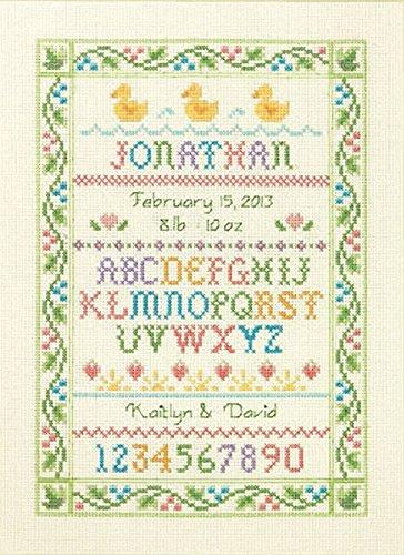 fts Counted Cross Stitch Kit, Alphabet Sampler Birth Record (Alphabet Sampler Kit)