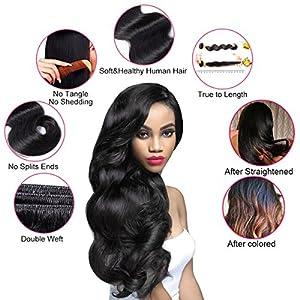 Brazilian Body Wave 3 Bundles Virgin Brazilian Hair 100% Unprocessed Human Hair Extensions (8.10.12, natural color)