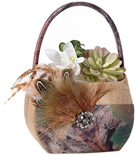 Lillian Rose Rustic Camouflage Wedding Flower Girl Basket (Camouflage Wedding)