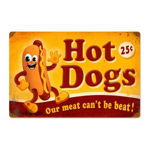Hot Dogs Vintage Metal Sign Food Drink 18 X 12 Steel Not (Hot Dog Metal Sign)