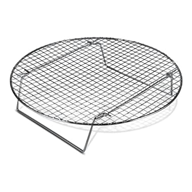 Update International Chrome-Plated Cross-Wire Cooling Rack, Wire Pan Grate, Baking Rack, Icing Rack, Round Shape, 2-Height Adjusting Legs - 10 ½ Inch Diameter (1)