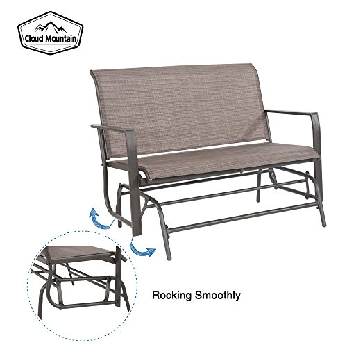 Cloud Mountain Patio Glider Bench Outdoor 2 Person Swing Loveseat Rocking Seating Patio Swing Rocker Lounge Glider Chair, Tan by Cloud Mountain (Image #4)