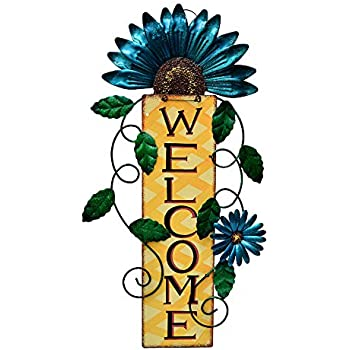 Rustic Metal Blue Flower Welcome Wall Art Decor Hanging Flower Welcome Wreath