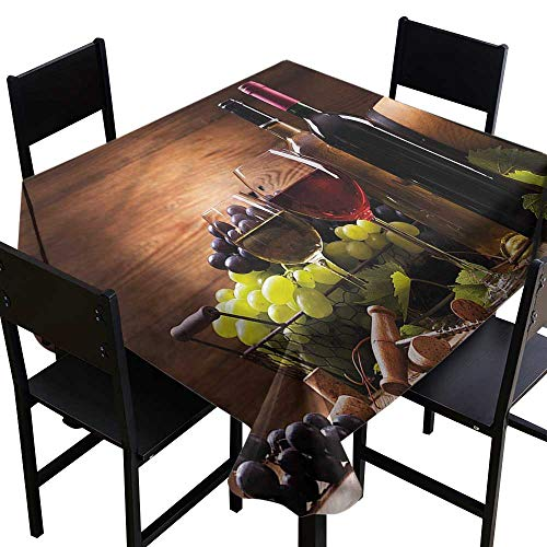Wine Spill-Proof Table Cover French Gourmet Tasting Party Decorations Table Cover Cloth 60 x 60 Inch