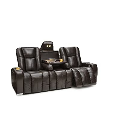 Barcalounger Griffith Home Theater Seating Leather Multimedia Sofa With  Power Recline And Powered Headrests (Brown