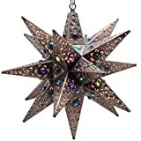 Moravian Star Light, Flower Pierced Tin, Bronze with Marbles, 20''