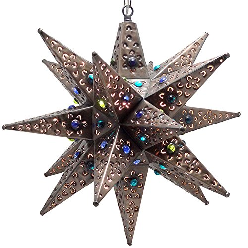 Moravian Star Light, Flower Pierced Tin, Bronze with Marbles, 18''