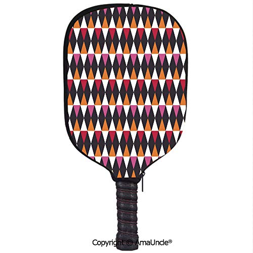 SCOXIXI Customized Racket Cover, Stylish Rhombus Shapes with Vintage Inspired Palette Ornamental and Geometric ElementsRacket Cover,Protect Your Pickleball Paddles