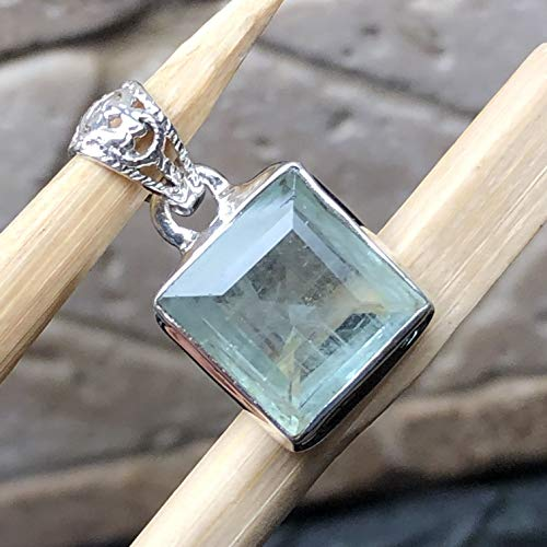 - Genuine 6ct Princess Cut Aquamarine 925 Solid Sterling Silver Pendant 20mm Long