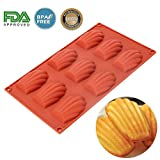 Silicone Madeleines Mold - 9 Cavities Nonstick Silicone Mold, Baking Mold, Handmade Soap Moulds, Ice Cube Tray, Silicone Madeleines Pan for Cake/Chocolate/Candy/Biscuit(Red)