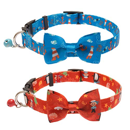 SCIROKKO 2 Pack Dog Collar with Bell - Ocean Style - Cute & Comfortable - Adjustable for Puppy Kitty - Blue & Red