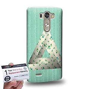 Case88 [LG G3] 3D impresa Carcasa/Funda dura para & Tarjeta de garantía - Art Fashion Green Flower Penrose Triangle